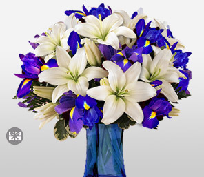Wild At Heart-Blue,Purple,Violet,White,Iris,Lily,Arrangement