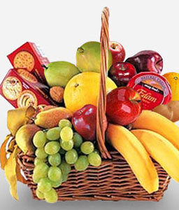 Cheese, Crackers & Fruit Basket-Fruit,Gourmet,Basket,Hamper