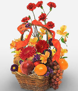 Fruits And Flowers Gift Basket-Mixed,Alstroemeria,Carnation,Fruit,Gerbera,Mixed Flower,Arrangement,Hamper