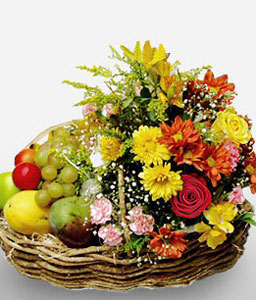Blossoms And Fruits-Mixed,Fruit,Mixed Flower,Basket,Hamper