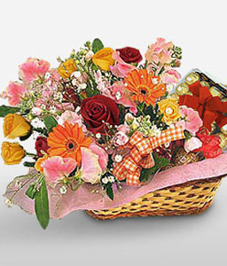 Chocolaty Indulgence-Mixed,Chocolate,Mixed Flower,Basket,Hamper