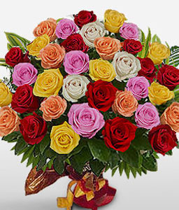 Majestic Beauty - 36 Mixed Roses-Mixed,Pink,Red,White,Yellow,Rose,Basket
