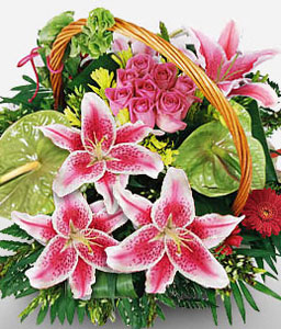 Ermou Extravagance-Green,Mixed,Pink,Red,Anthuriums,Lily,Mixed Flower,Rose,Arrangement