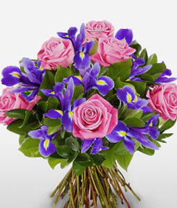 Greek Majesty-Blue,Pink,Purple,Iris,Mixed Flower,Rose,Bouquet