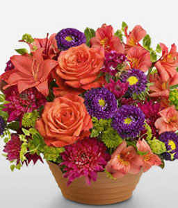 Ithaca Dusk-Mixed,Orange,Purple,Lily,Mixed Flower,Rose,Arrangement