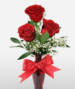 Thrice The Love-Red,Rose,Arrangement