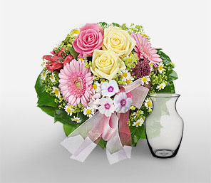Bellissima-Green,Pink,Yellow,Alstroemeria,Gerbera,Mixed Flower,Rose,Arrangement
