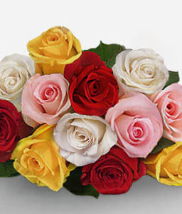 Alluring Pinks-Mixed,Pink,Red,White,Yellow,Rose,Bouquet