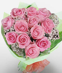 12 Pink Kisses-Pink,Rose,Bouquet