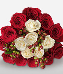 Dreamy Calm-Red,White,Rose,Bouquet