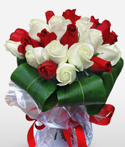 Red And Whites-Red,White,Rose,Bouquet