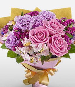 Carnegie-Pink,Purple,Alstroemeria,Carnation,Mixed Flower,Orchid,Rose,Bouquet
