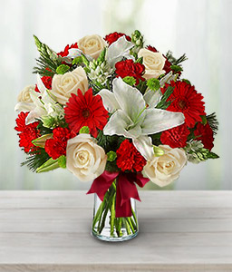 Christmas Arrangement-Red,White,Carnation,Daisy,Gerbera,Lily,Rose,Arrangement