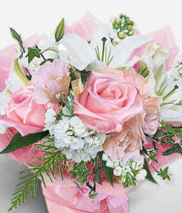 Elegant Dreams-Pink,White,Lily,Rose,Bouquet