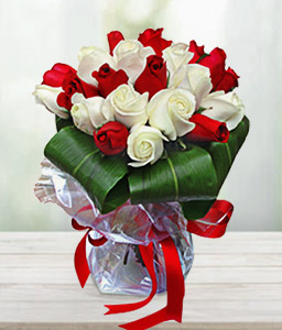 Red & White Roses-Red,White,Rose,Arrangement