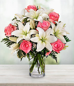 Sweet Seduction-Pink,White,Lily,Rose,Arrangement