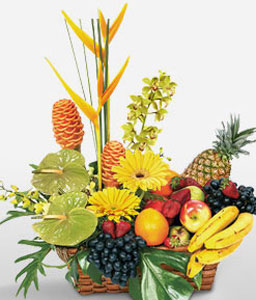 Irresistible Temptation-Orange,Yellow,Anthuriums,Birds of Paradise,Daisy,Fruit,Gerbera,Basket