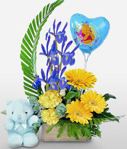 Lovers Fantasy-Yellow,Balloons,Daisy,Gerbera,Teddy,Arrangement