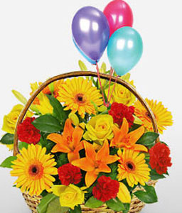Happy Thoughts-Orange,Red,Yellow,Mixed Flower,Lily,Gerbera,Daisy,Carnation,Balloons,Rose,Basket