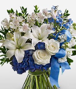 Cool Water-Blue,White,Alstroemeria,Lily,Orchid,Rose,Bouquet
