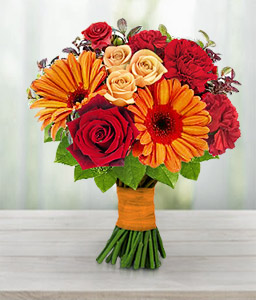 Myriad Majesty-Orange,Red,Carnation,Daisy,Gerbera,Rose,Bouquet