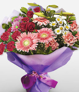 Exotica-Mixed,Pink,Red,White,Carnation,Chrysanthemum,Daisy,Gerbera,Lily,Mixed Flower,Rose,Bouquet