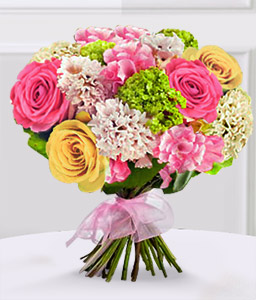 Fascinated By Fuchsia-Green,Peach,Pink,White,Carnation,Rose,Bouquet