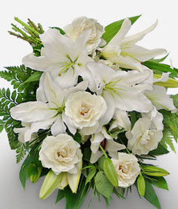 White Haven-White,Carnation,Lily,Rose,Bouquet