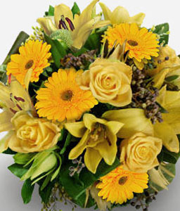 Treasure Chest-Yellow,Gerbera,Lily,Rose,Bouquet