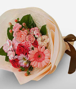 Turn Up Mixed Flowers Bouquet-Peach,Red,Carnation,Daisy,Gerbera,Rose,Bouquet