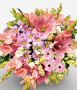 Long Beach-Pink,Chrysanthemum,Lily,Bouquet