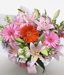 Perfect Smile-Mixed,Orange,Pink,White,Gerbera,Lily,Bouquet