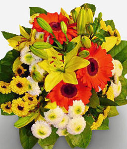 Sunbeam-Mixed,Orange,White,Yellow,Chrysanthemum,Daisy,Gerbera,Lily,Mixed Flower,Bouquet