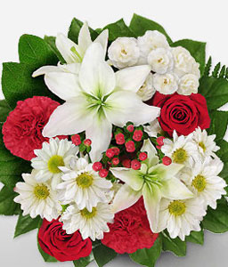 Exotic Splendor-Red,White,Carnation,Lily,Rose,Bouquet