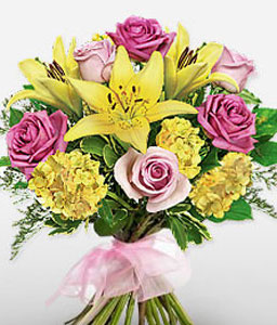 Tycoon-Pink,Yellow,Rose,Lily,Carnation,Bouquet