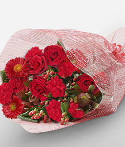 Amai Dezaia - Mixed Red Flowers-Red,Rose,Gerbera,Daisy,Carnation,Bouquet