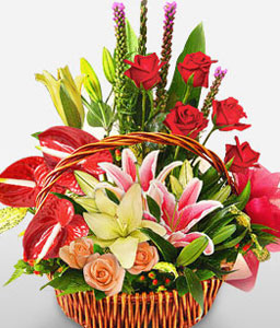 Imperial Majesty-Mixed,Peach,Pink,Red,Anthuriums,Lily,Mixed Flower,Rose,Arrangement