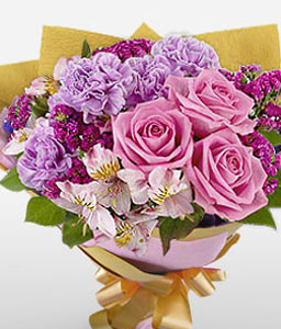 Carnegie-Lavender,Mixed,Pink,Purple,Violet,Carnation,Mixed Flower,Orchid,Rose,Bouquet