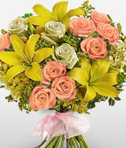 Delightful Lilies And Roses-Peach,White,Yellow,Lily,Rose,Bouquet