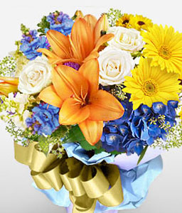 Technicolor Dream-Blue,Mixed,Orange,White,Yellow,Rose,Mixed Flower,Lily,Iris,Gerbera,Daisy,Bouquet