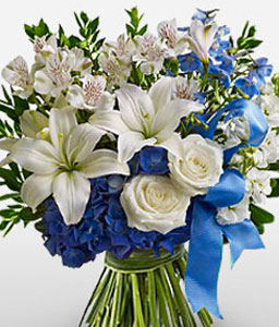 White Mixed Flower Bouquet-Blue,White,Alstroemeria,Lily,Orchid,Rose,Bouquet