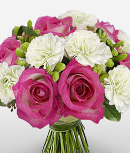 Swiss Roses N Carnations-Pink,White,Carnation,Rose,Bouquet