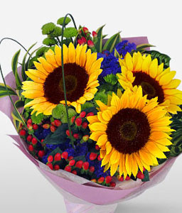 Gold Fever-Purple,Yellow,SunFlower,Bouquet