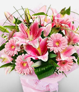 Valentines Flowers-Pink,Daisy,Gerbera,Lily,Bouquet
