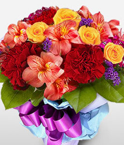 Haute Fashion-Mixed,Orange,Purple,Red,Yellow,Alstroemeria,Carnation,Mixed Flower,Rose,Bouquet