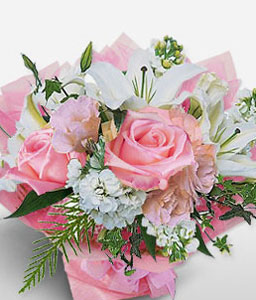 Ingenious-Pink,White,Lily,Rose,Arrangement