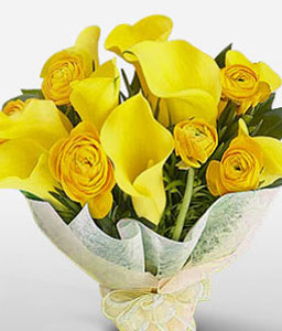 Royal Touch-Yellow,Lily,Rose,Bouquet