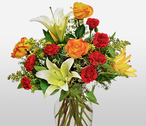 Sunset Sky-Green,Mixed,Orange,Red,White,Mixed Flower,Lily,Carnation,Arrangement