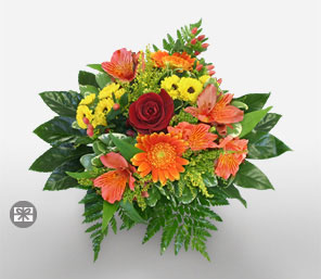Lavish Lucerne-Green,Mixed,Red,Yellow,Alstroemeria,Chrysanthemum,Mixed Flower,Rose,Bouquet