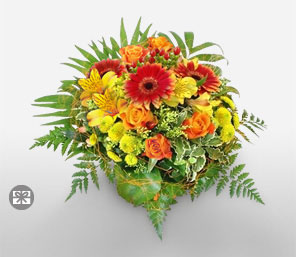 Summer Opulence-Green,Mixed,Orange,Red,Yellow,Chrysanthemum,Daisy,Gerbera,Mixed Flower,Rose,Bouquet